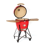 YNNI 25 inch Red XL Kamado BBQ Grill with Remote Chip Feeder and Stand New Model TQ0C25RE