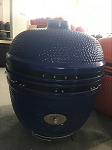 YNNI 25 inch Blue Limited Edition XL Kamado BBQ Grill with Remote Chip Feeder and Stand New Model TQ0C25BU