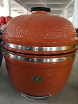 YNNI 25 inch Rose Gold Limited Edition XL Kamado BBQ Grill with Remote Chip Feeder and Stand New Model TQ0C25RG