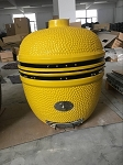YNNI 25 inch Yellow Limited Edition XL Kamado BBQ Grill with Remote Chip Feeder and Stand New Model TQ0C25WH