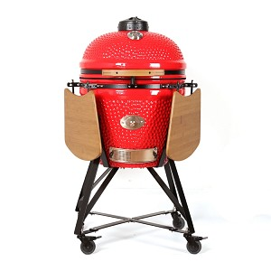 YNNI 23 inch Red Large Kamado BBQ Grill with remote Chip Feeder and stand TQ0C23RE