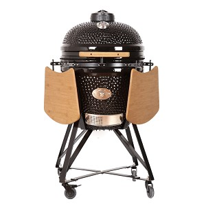 YNNI 23 inch Black Large Kamado BBQ Grill with remote Chip Feeder and stand TQ0C23BL