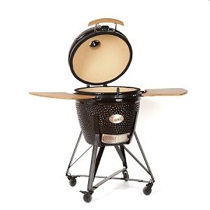 YNNI 25 inch Black XL Kamado BBQ Grill with Remote Chip Feeder and Stand New  Model TQ0C25BL